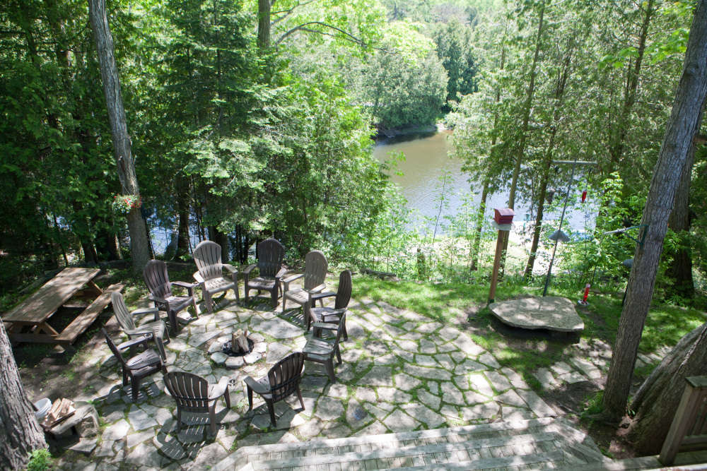 Firepit Area and Walkout Patio with a View of the River